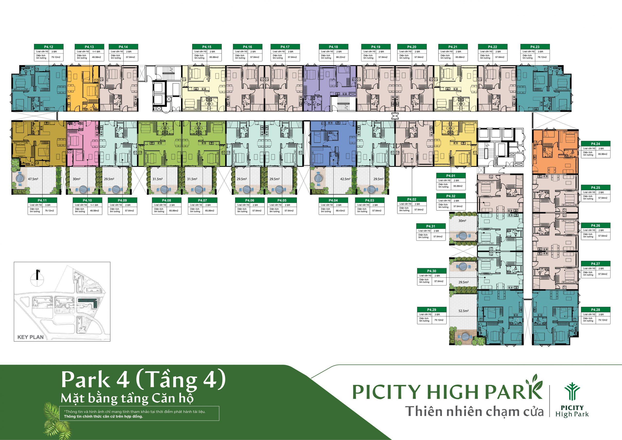 Mặt bằng tấng 4 block C4 - Dự án Picity High Park