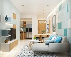 Phòng khách căn hộ Picity High Park Thạnh Xuân